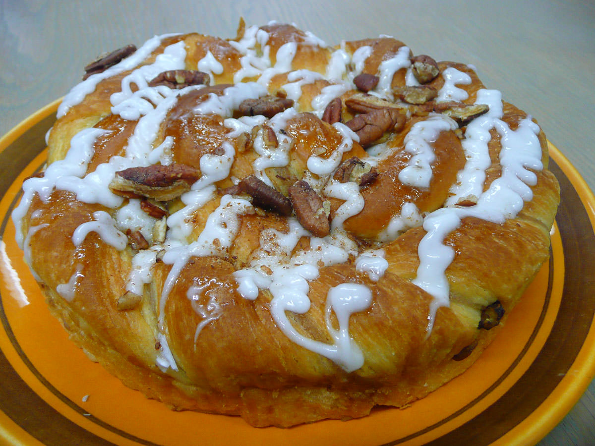 Pecan and custard danish