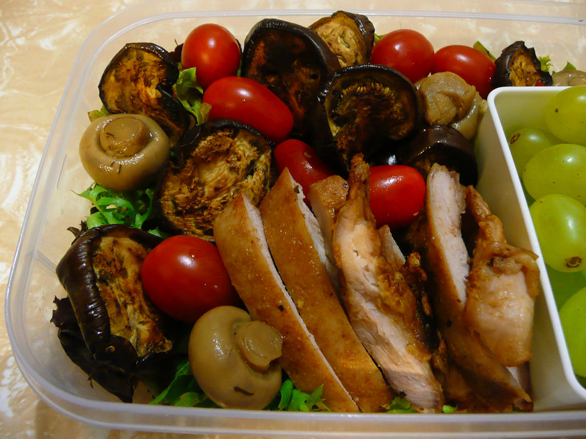 Chicken salad with panfried baby eggplant and marinated mushrooms