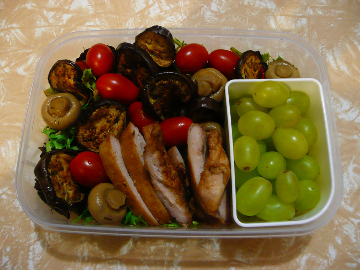 Bento - Chicken salad with panfried baby eggplant and marinated mushrooms