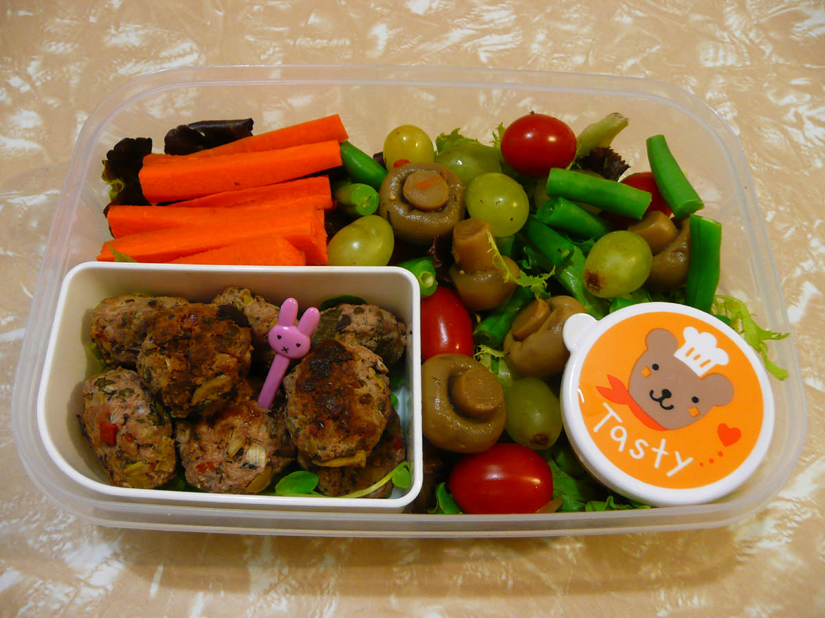 My bento lunch featured marinated mushrooms
