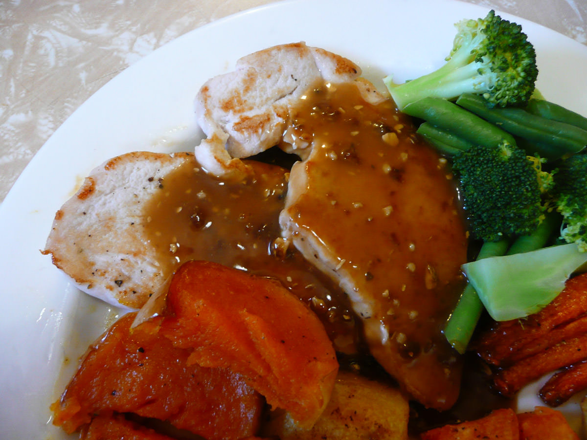 Turkey steaks with mushroom gravy close-up