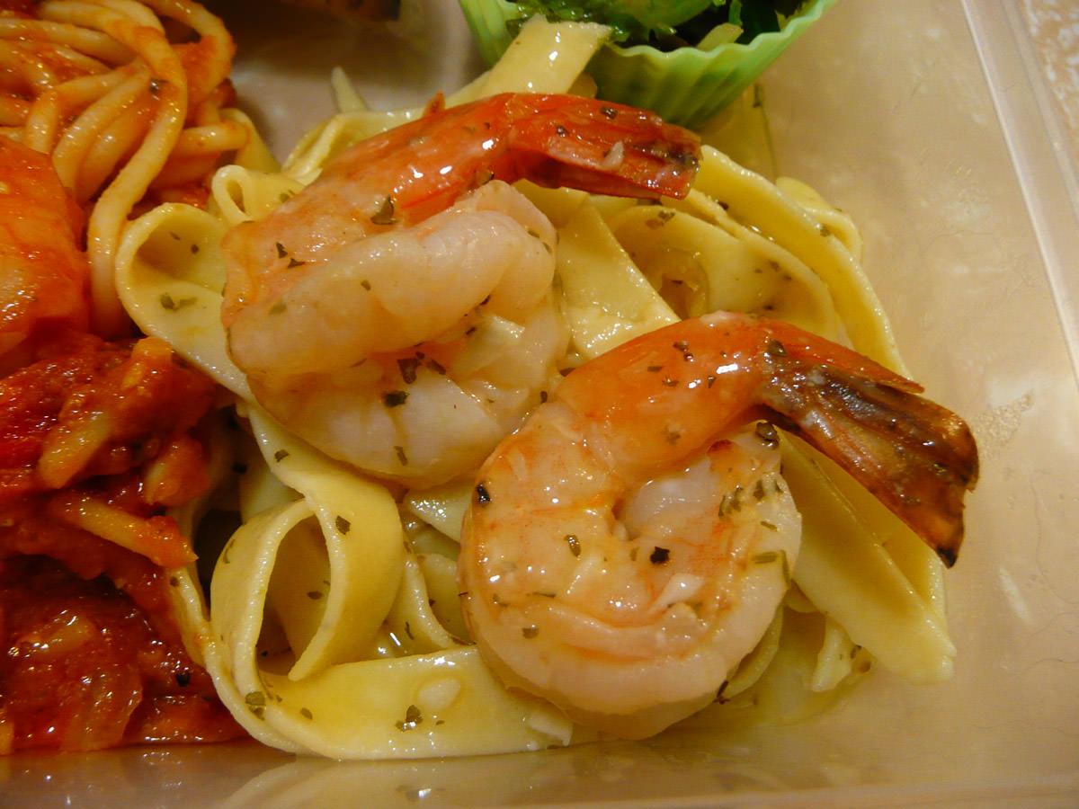 Italian leftovers bento - prawns close-up