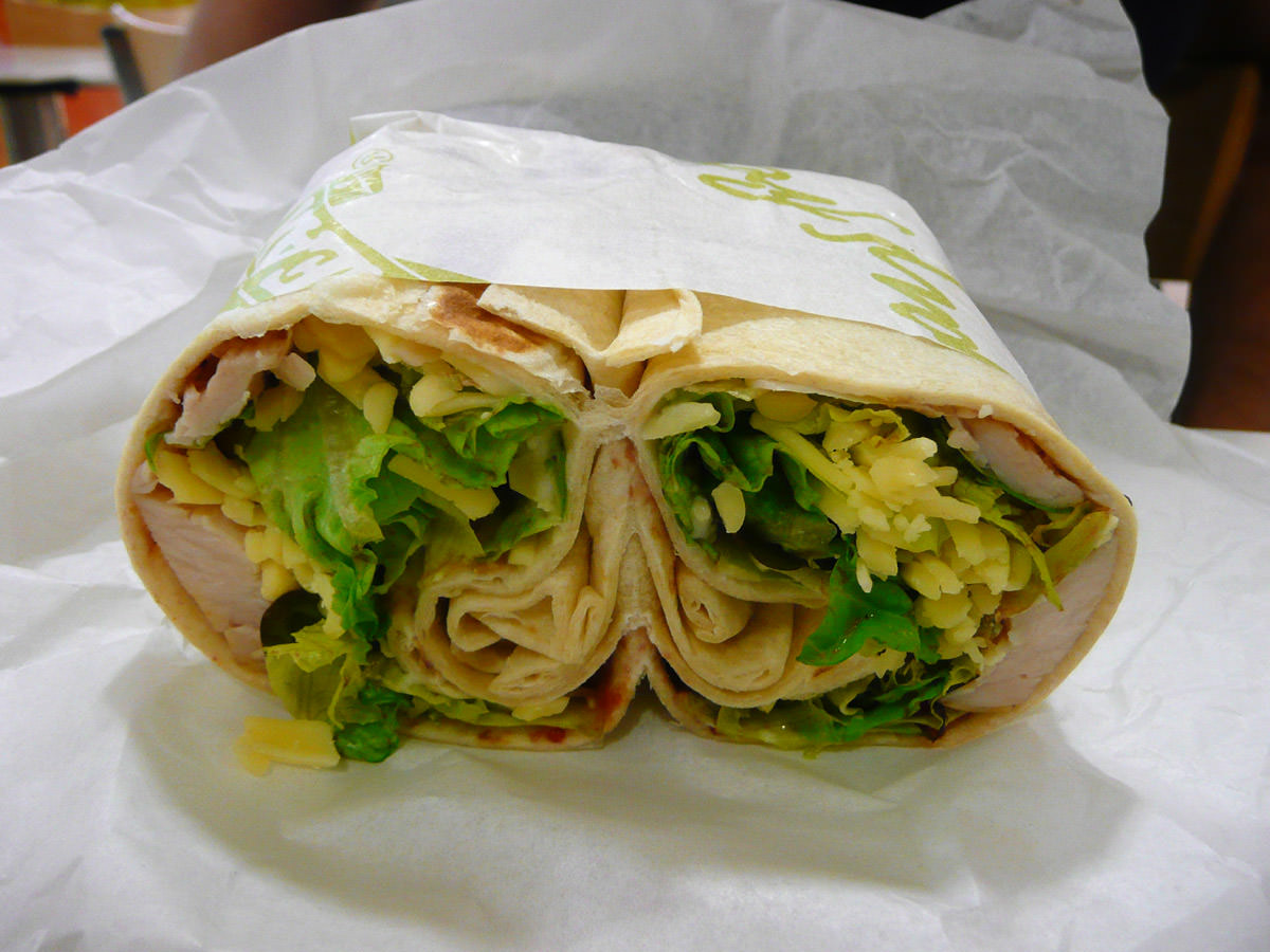 Turkey, cheese and salad wrap
