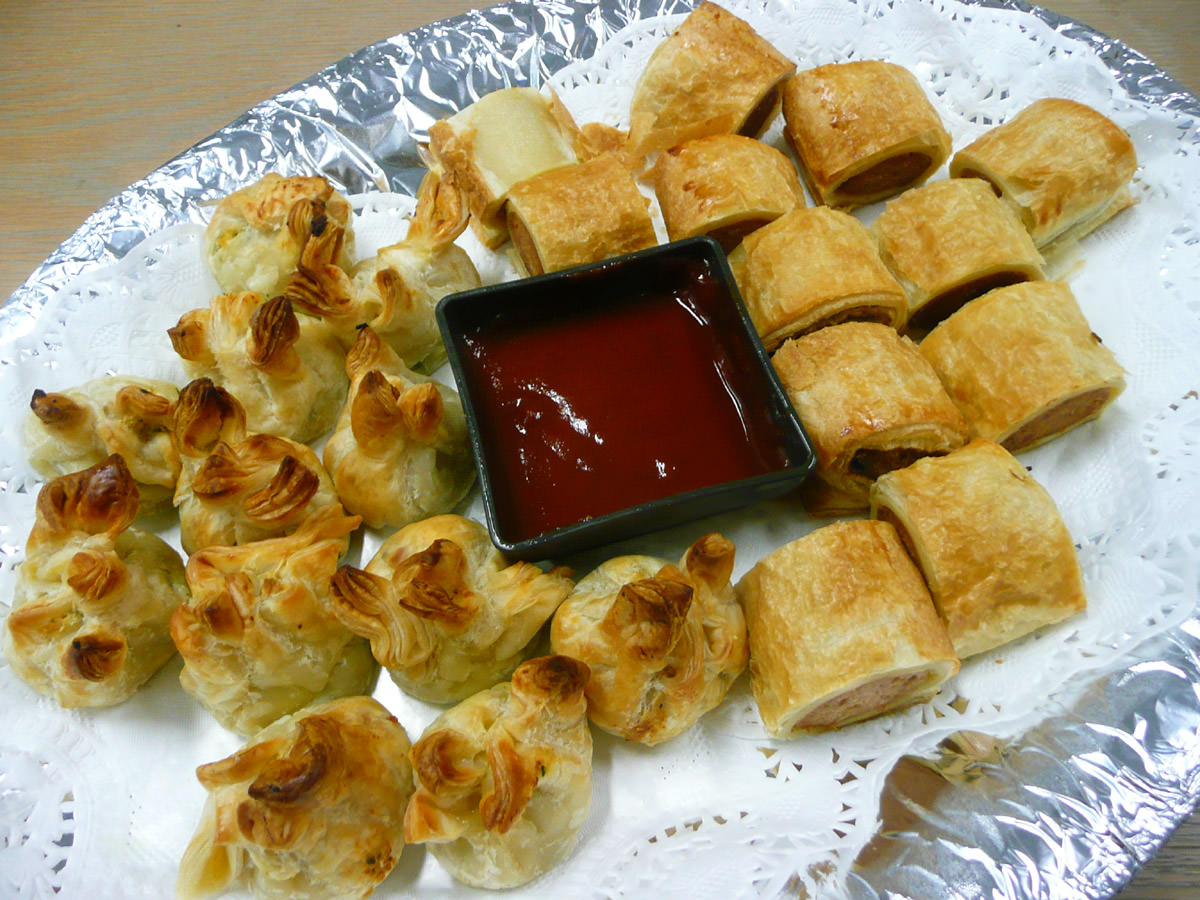 Sausage rolls and spinach and ricotta parcels