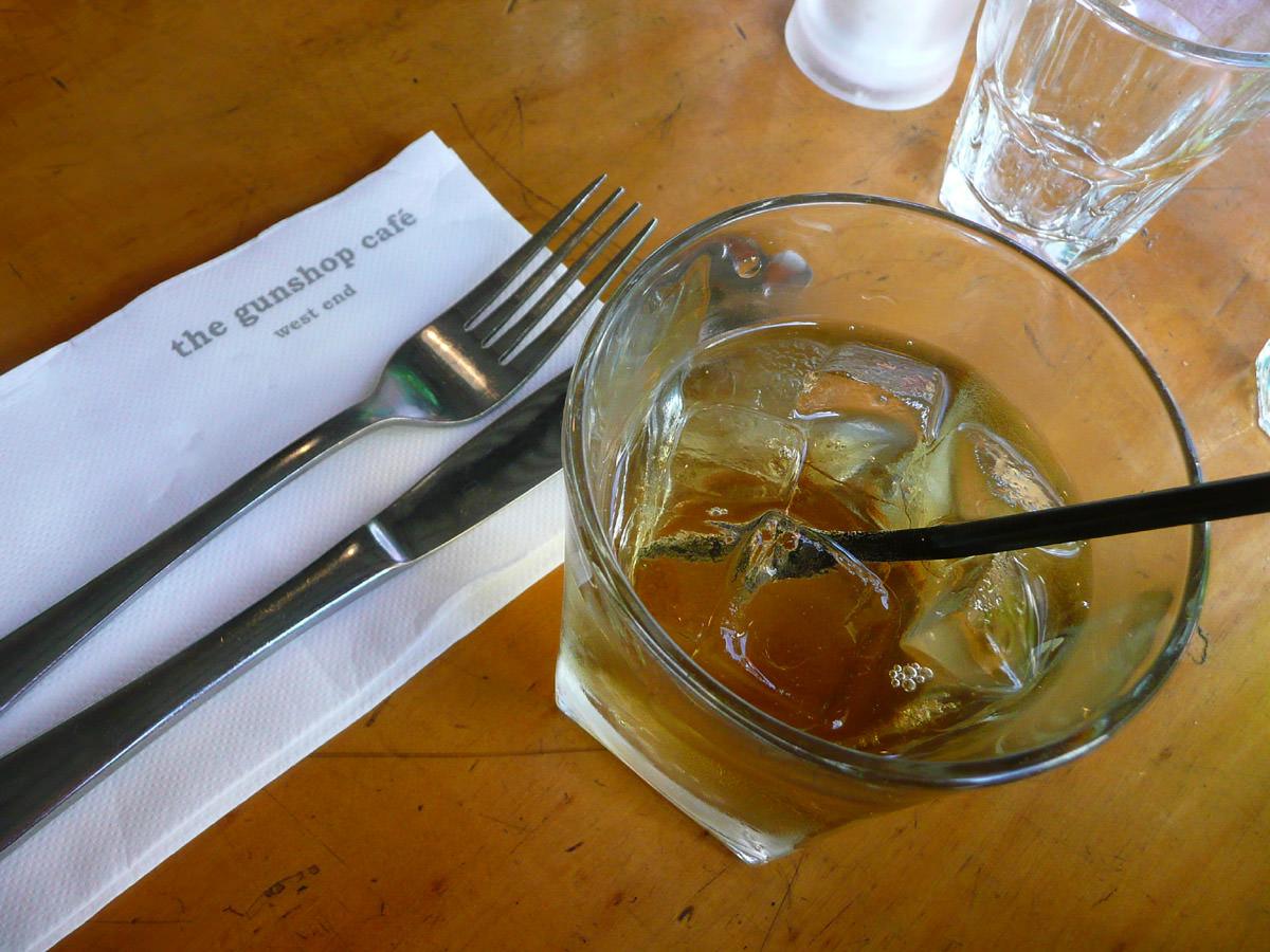 Sparkling apple juice at The Gunshop Cafe
