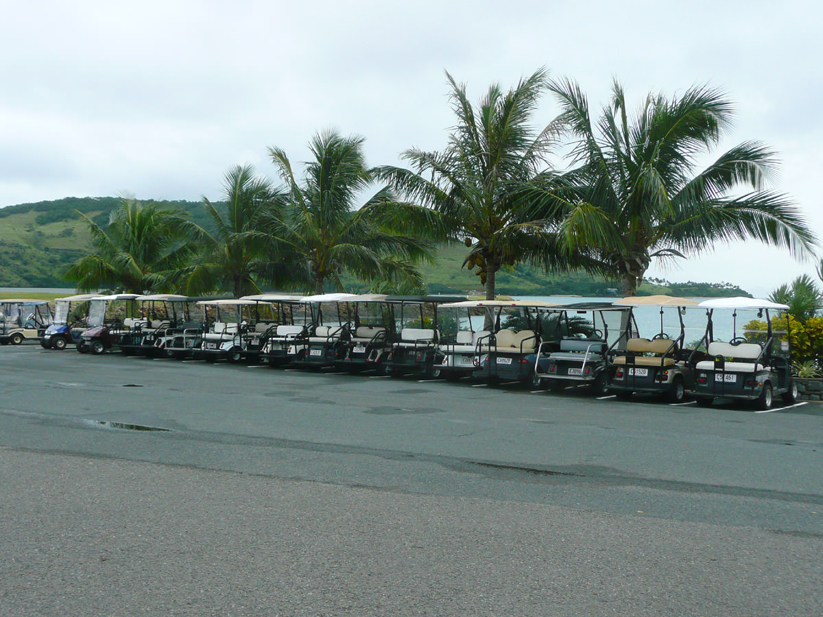 Golf buggies at the airport