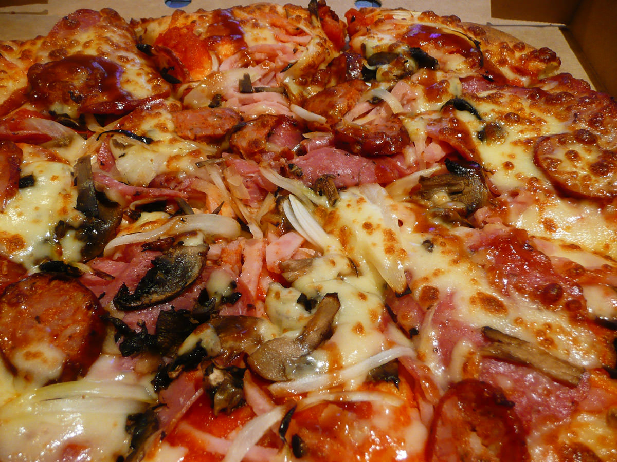 Meatlovers pizza close-up