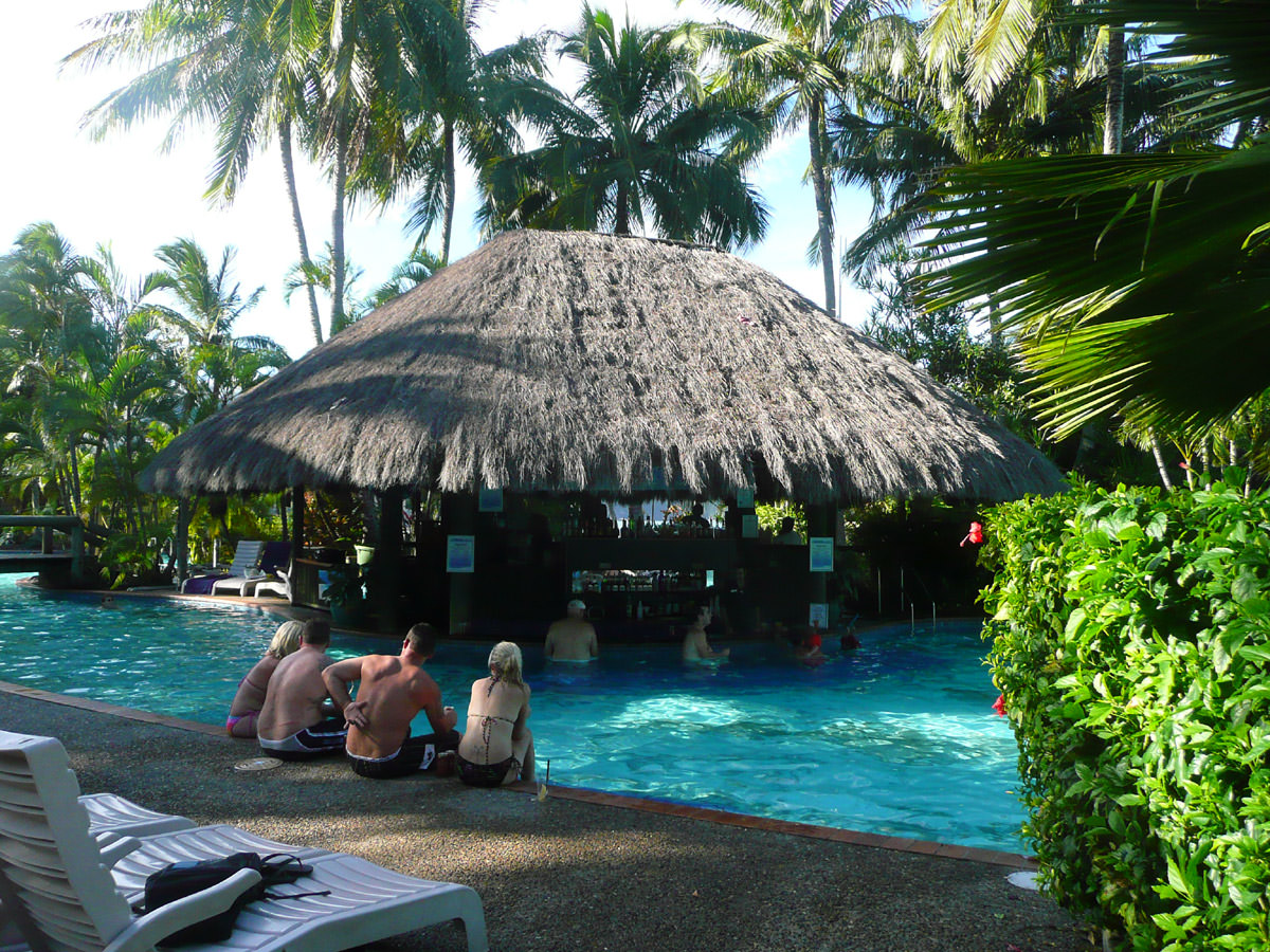 The bar at the main pool