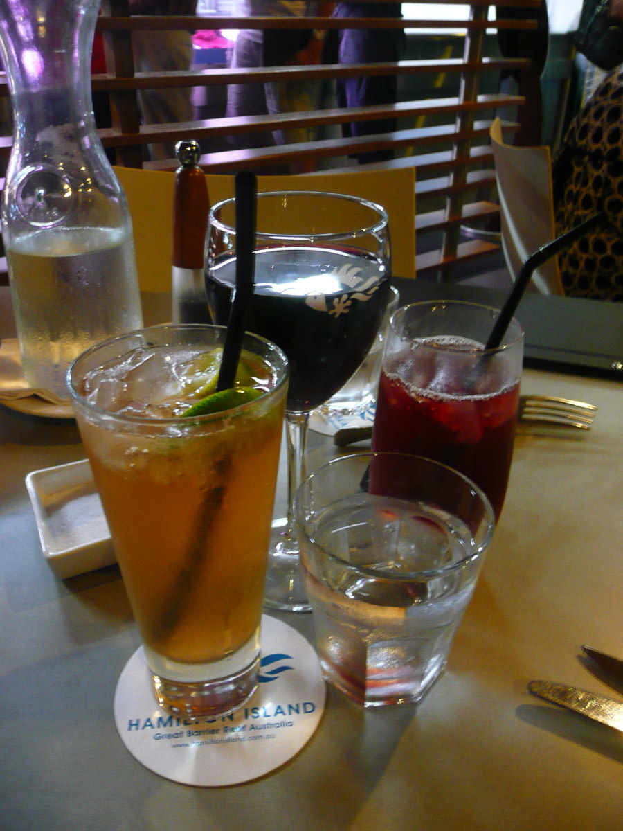 Lemon, lime and bitters; cranberry juice; red wine