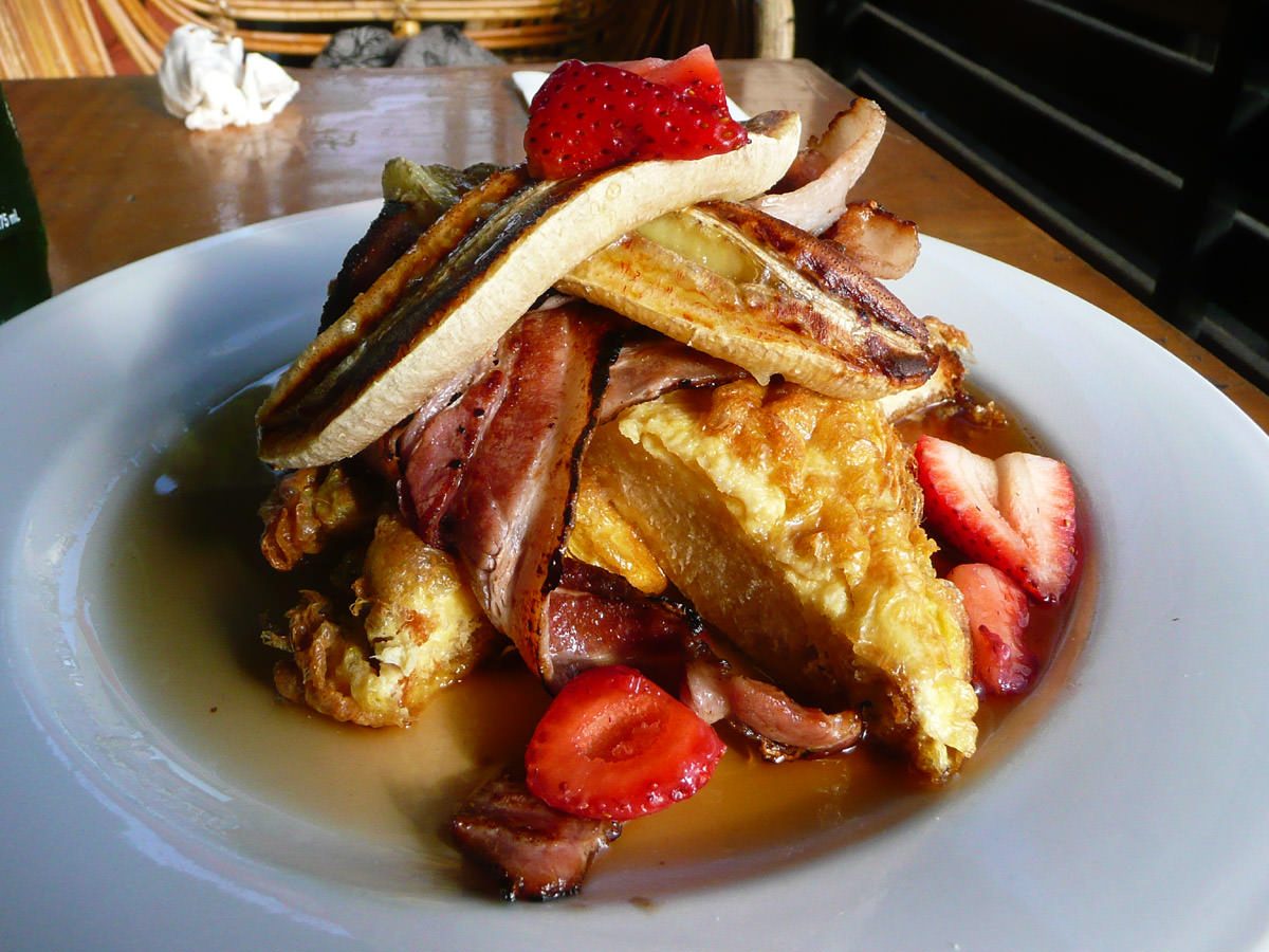 Canadian brioche french toast, bacon, caramelized banana and maple syrup