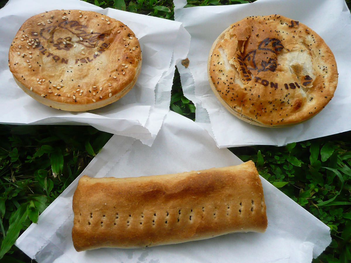 Two pies and a sausage roll