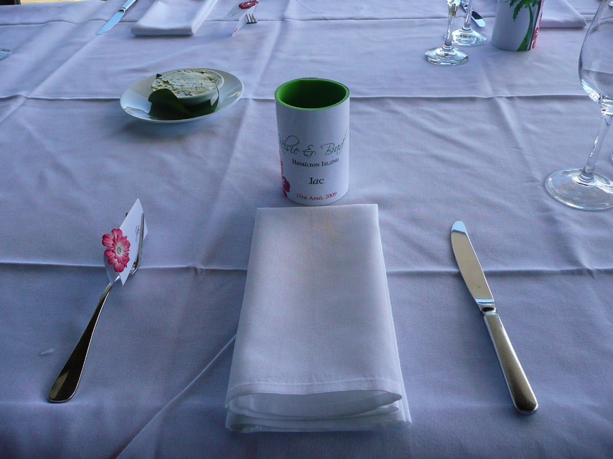 Table setting with Jac's personalised stubby holder