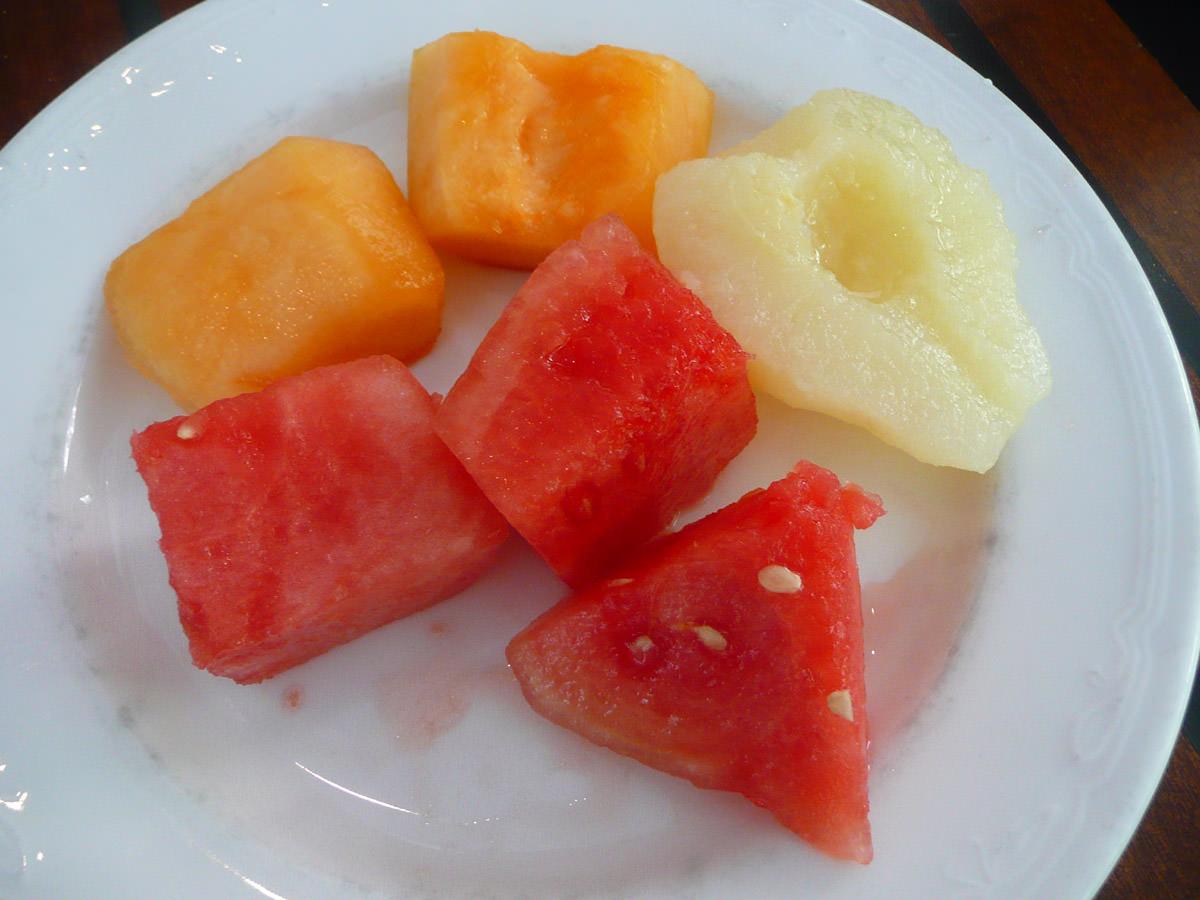 Watermelon, rockmelon and pear