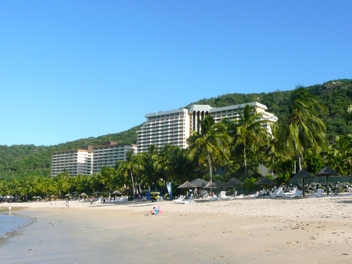 View of the Reef Hotel from the beach