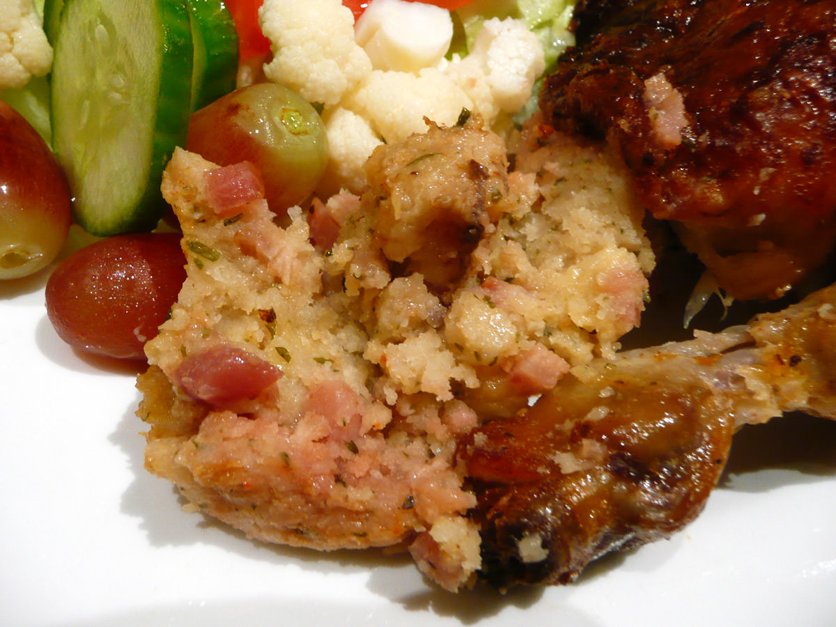 Roast chicken stuffing -it has cubes of ham in it!!