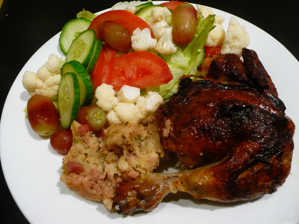 Roast chicken, stuffing and salad