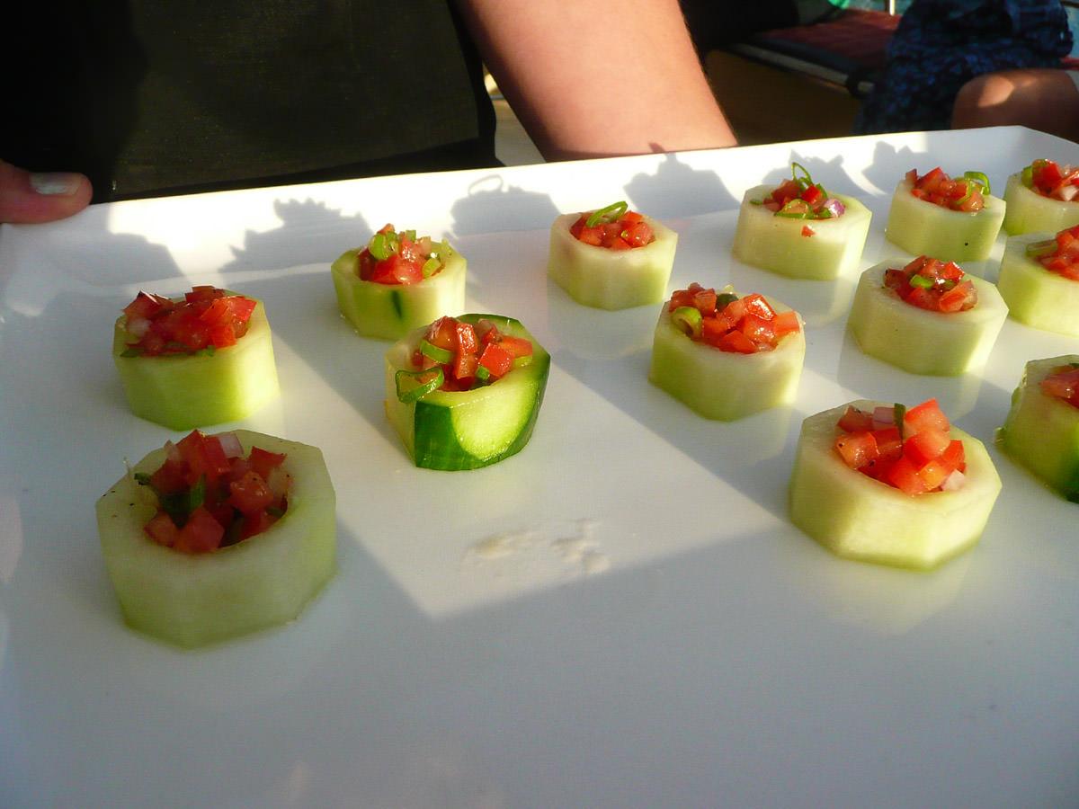 Canapes - bruschetta on cucumber