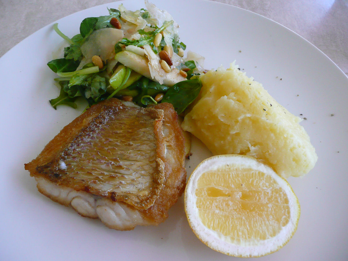 Panfried snapper, mashed potato, rocket salad with pear, pinenuts and shaved parmesan