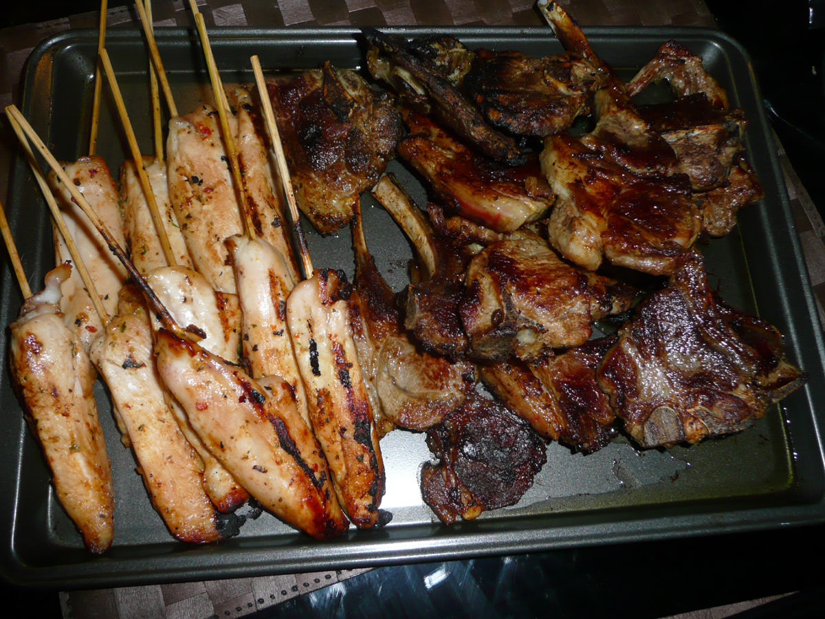 Chicken skewers and lamb chops