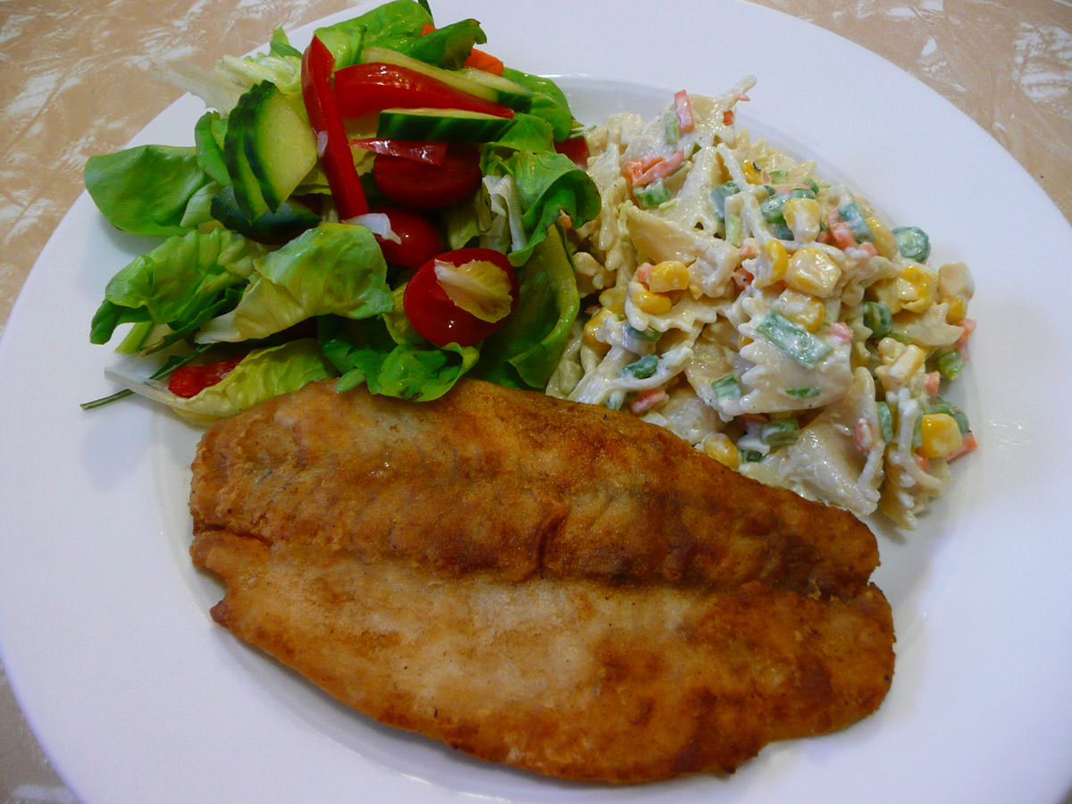 Fish, garden salad and pasta salad