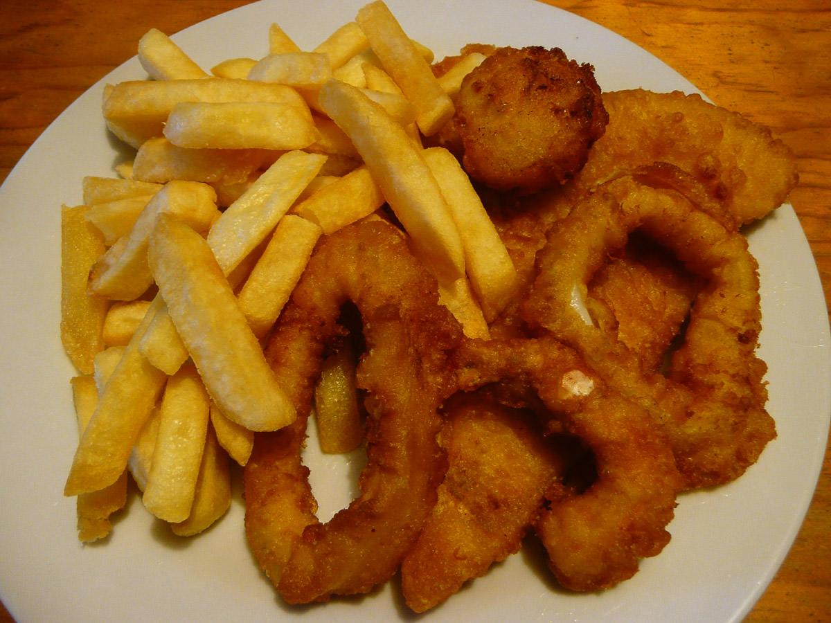 Fish and chips, calamari, prawn and scallop