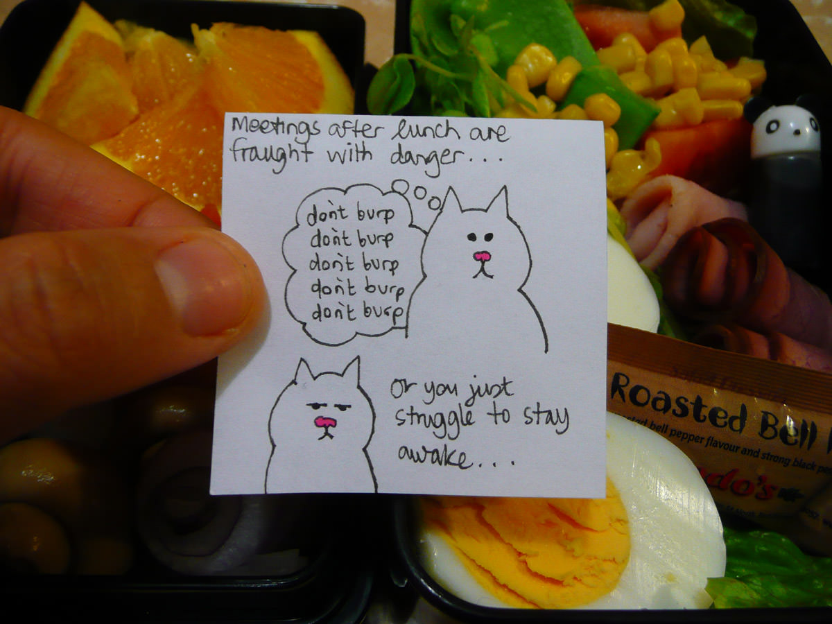 Jac's bento note - now with a burp joke