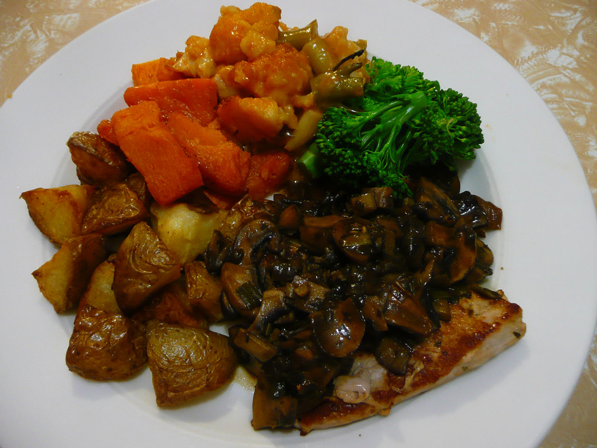 Pork steaks with mushroom sauce and vegetables