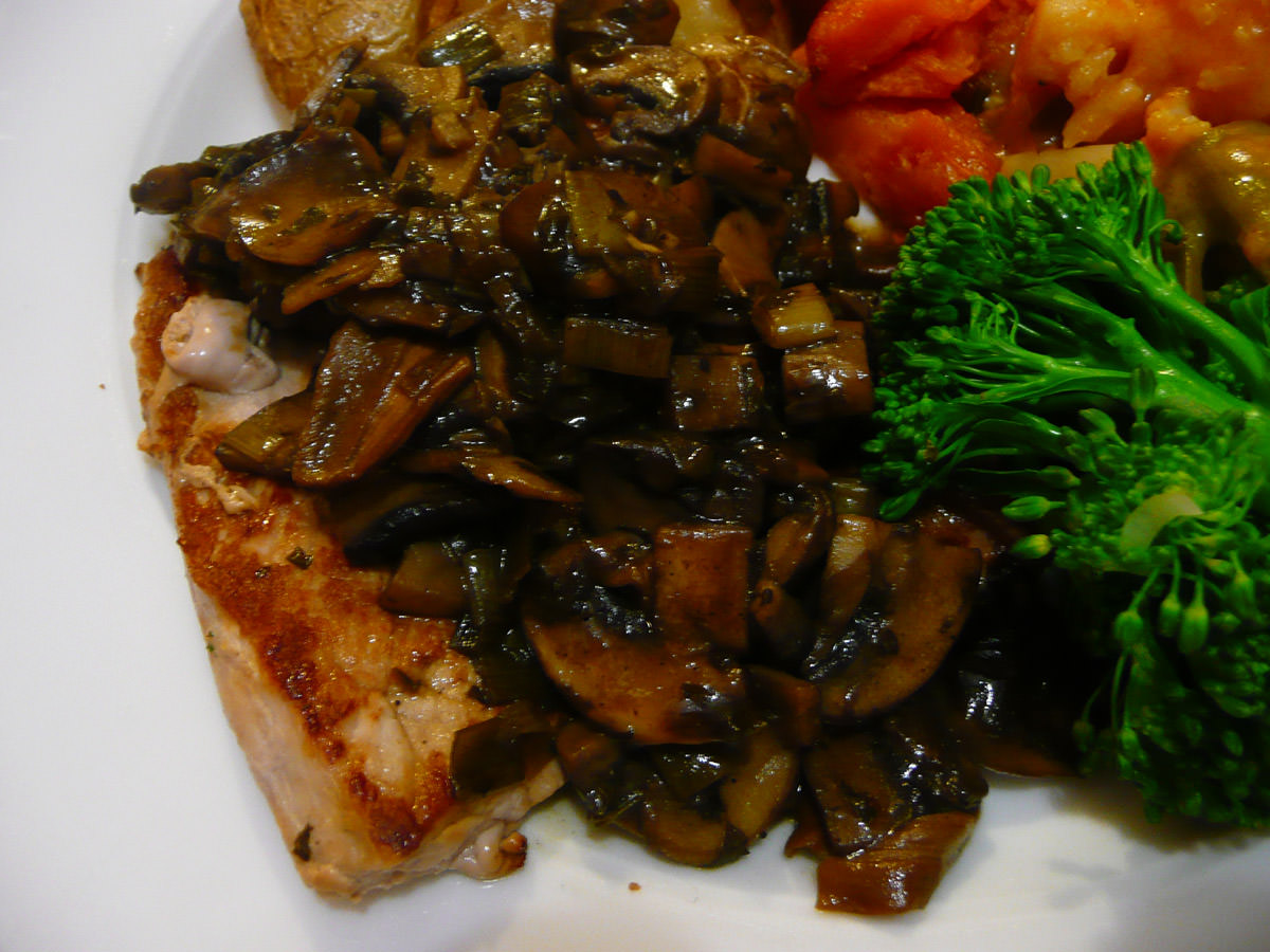 Pork steaks with mushroom sauce close-up
