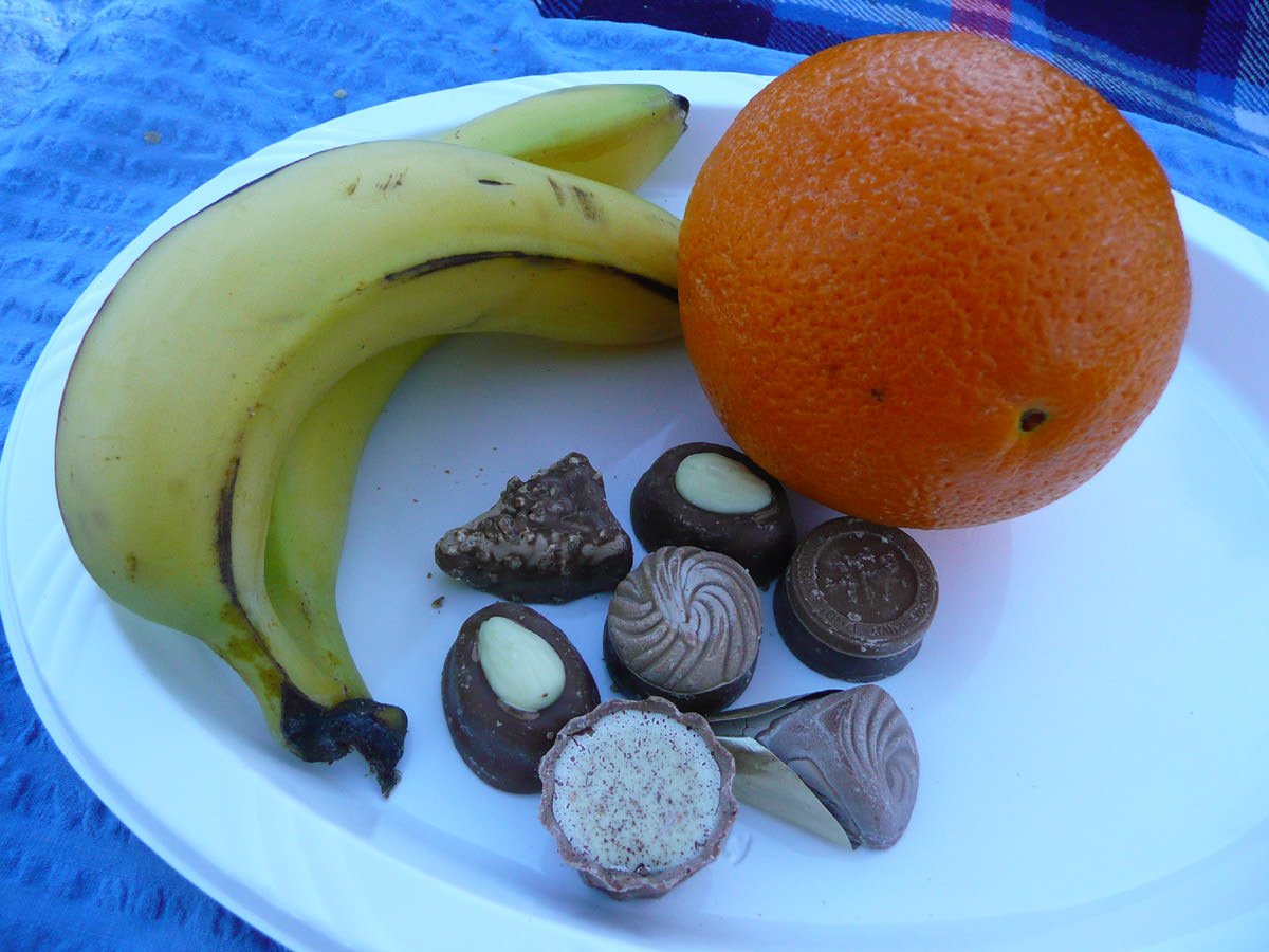 Fruit and chocolates