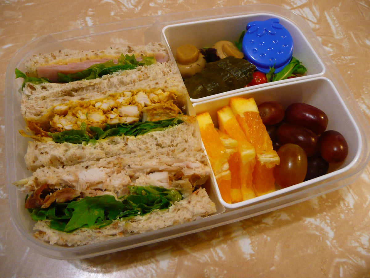 My bento lunch - sandwiches, fruit and salad