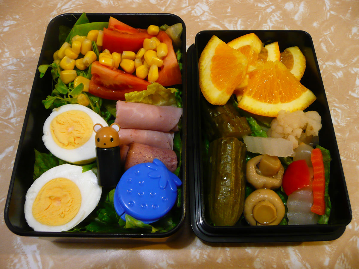 My bento lunch: hard-boiled egg, cold meats, pickles, salad and fruit