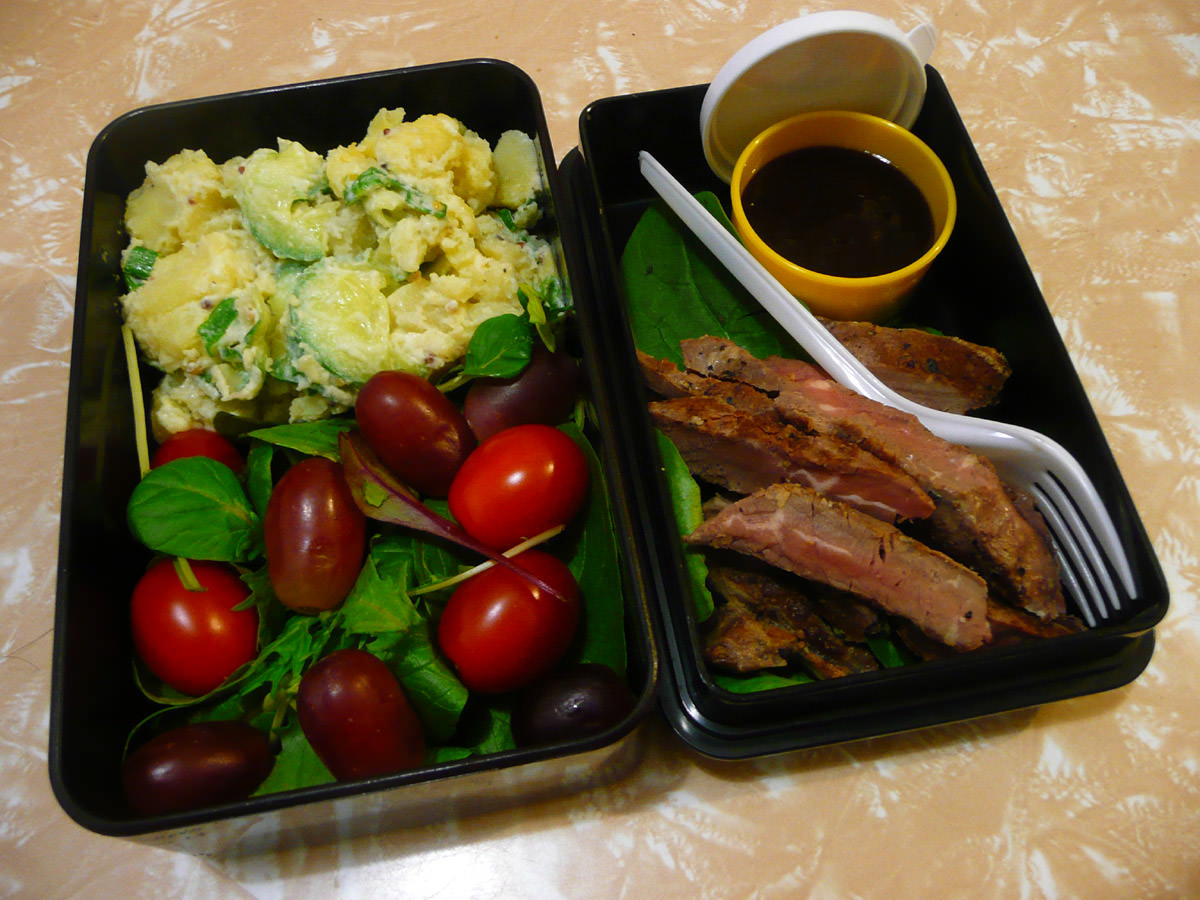 My bento lunch - steak, BBQ sauce and salads