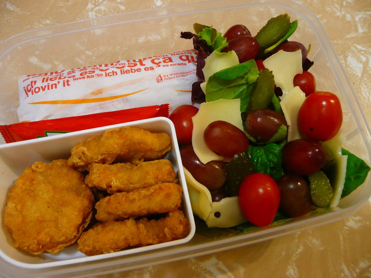 Bento - McDonalds Chicken McNuggets, Apple Pie and salad