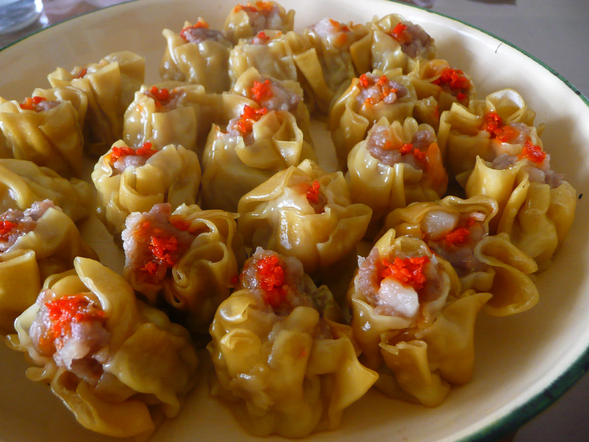 Army of siew mai close-up
