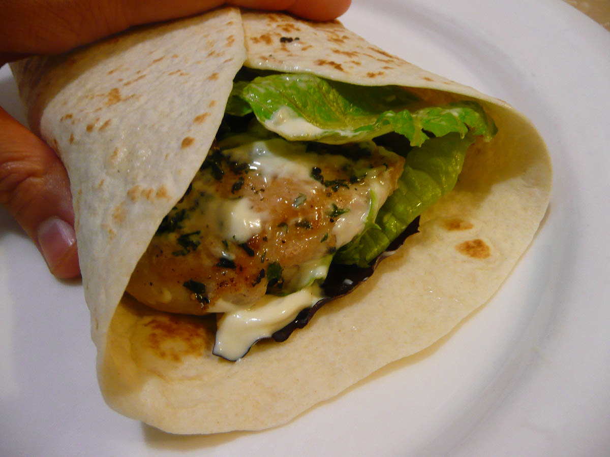 Chicken, salad and aioli wrap