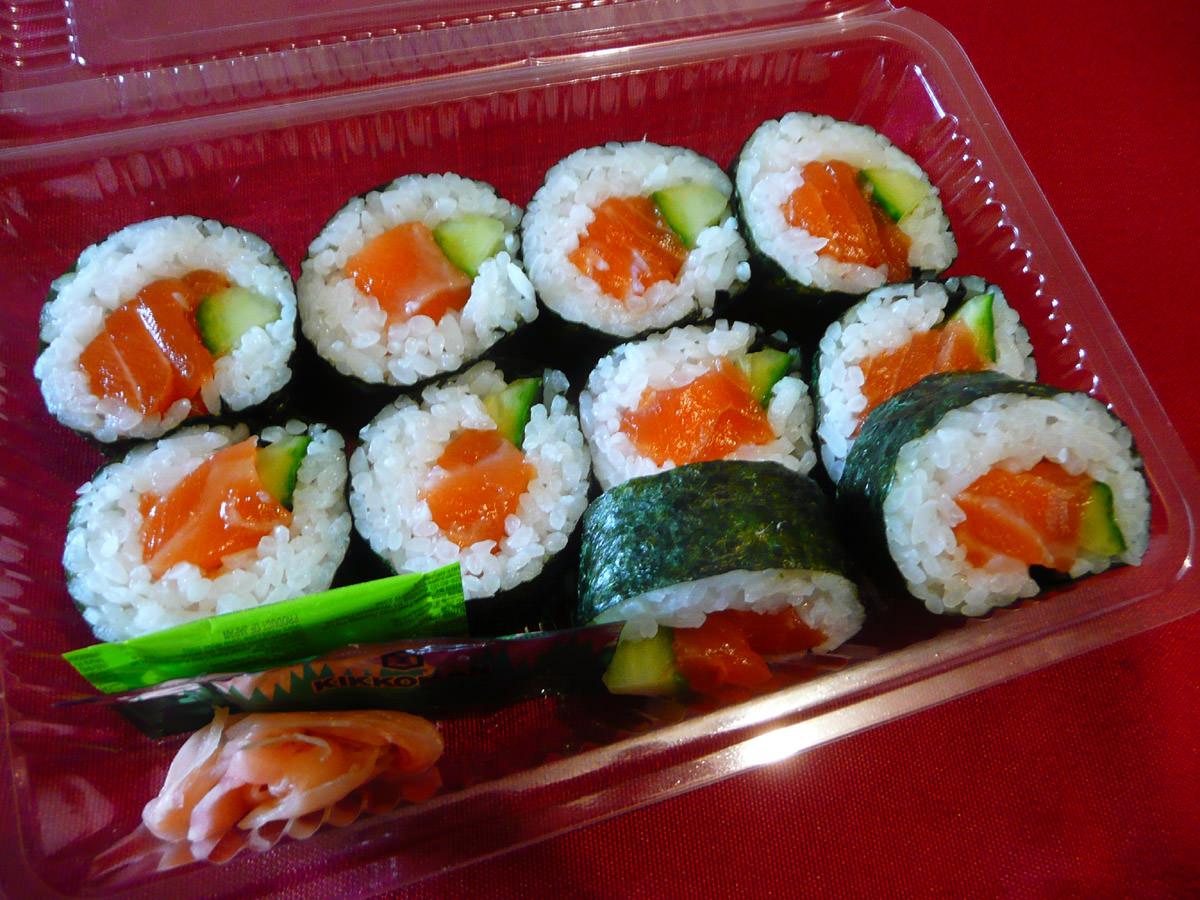 Raw salmon sushi
