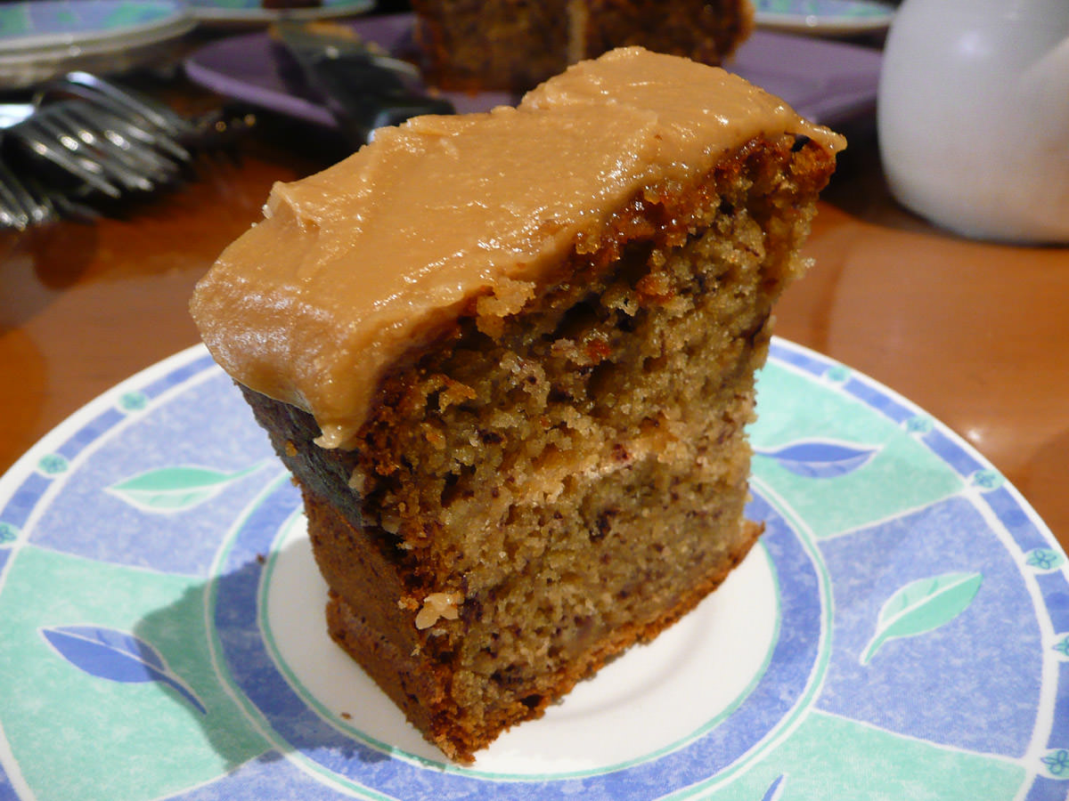 Slice of banana cake with caramel icing