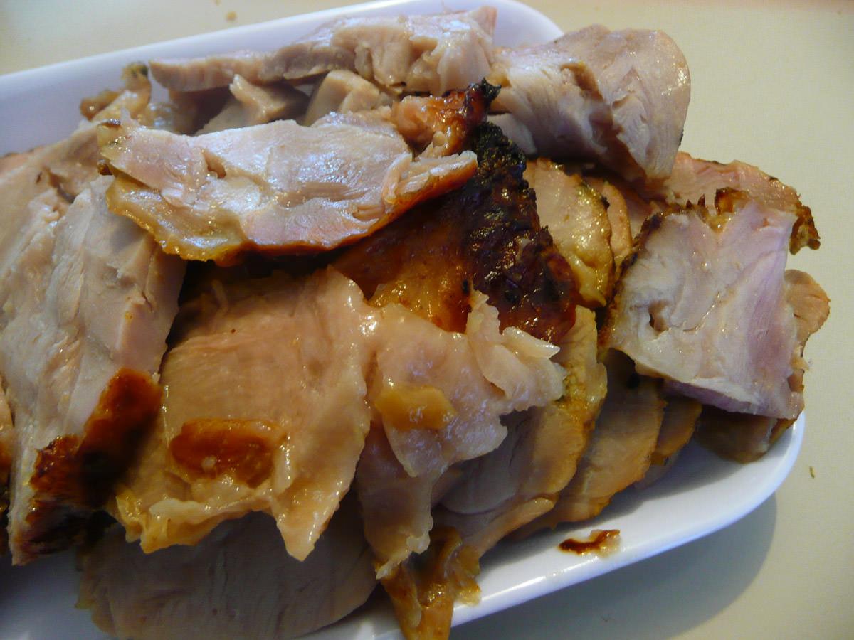 Carved turkey thigh roast