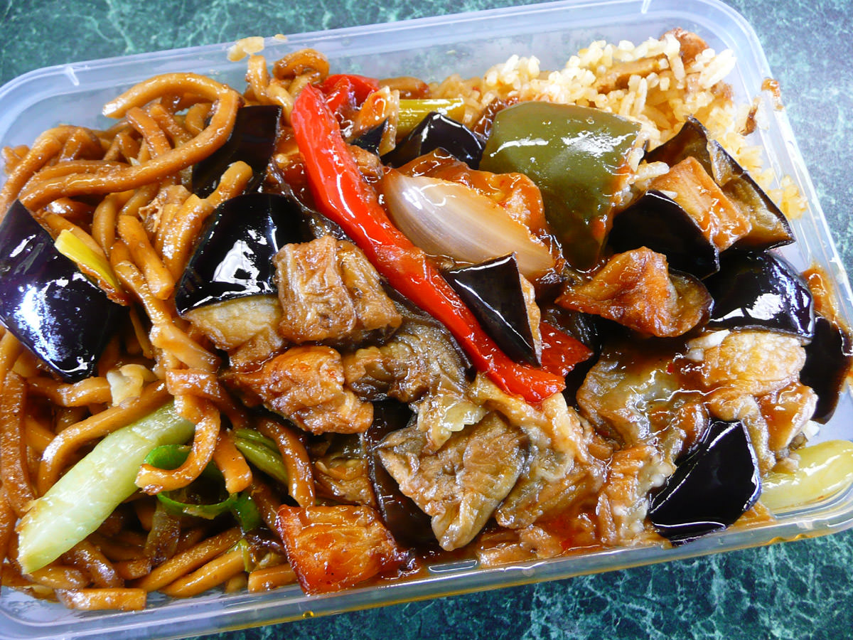 Chilli eggplant with fried noodles and fried rice