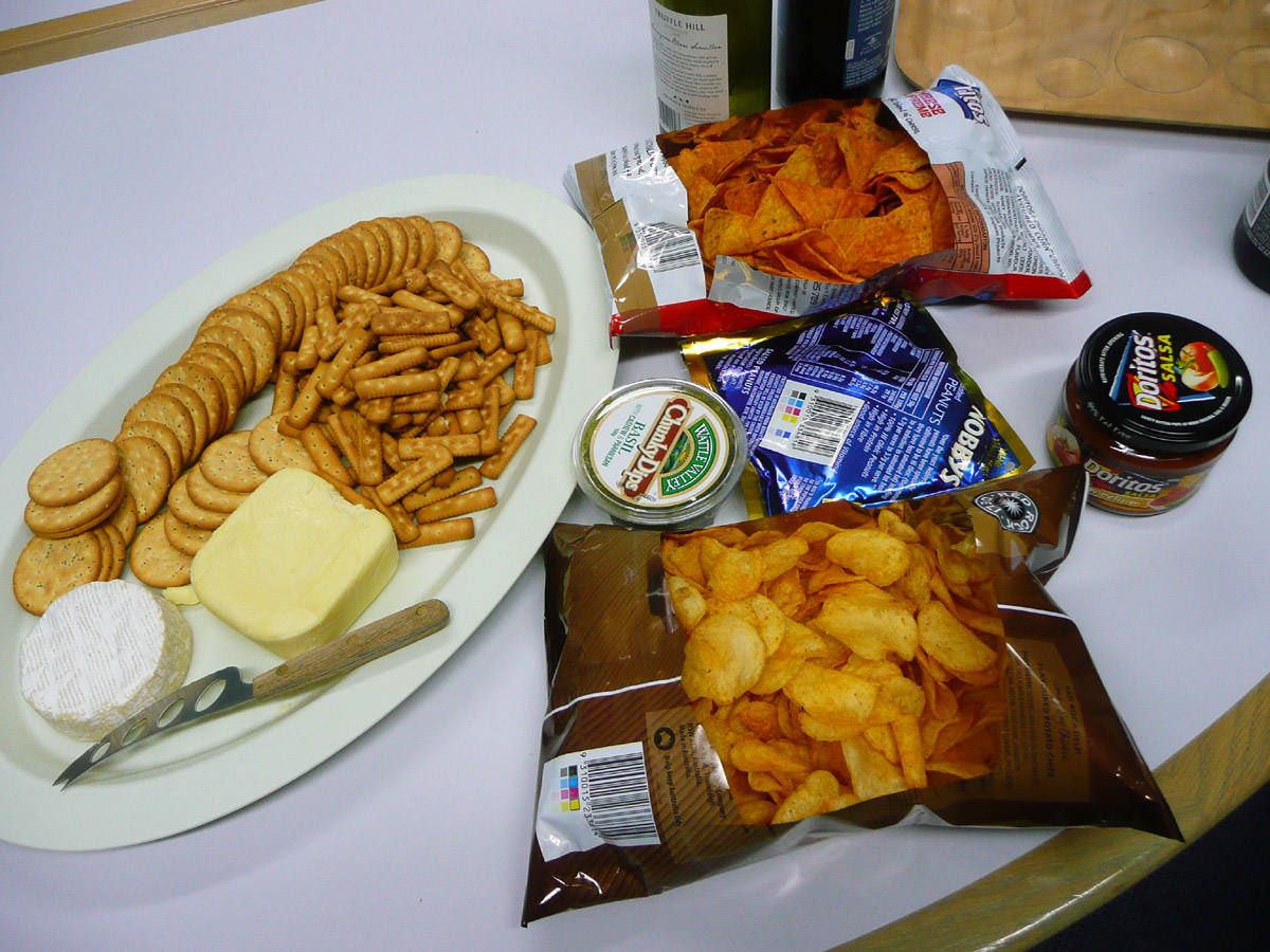 Cheese and biscuits, chips and dips