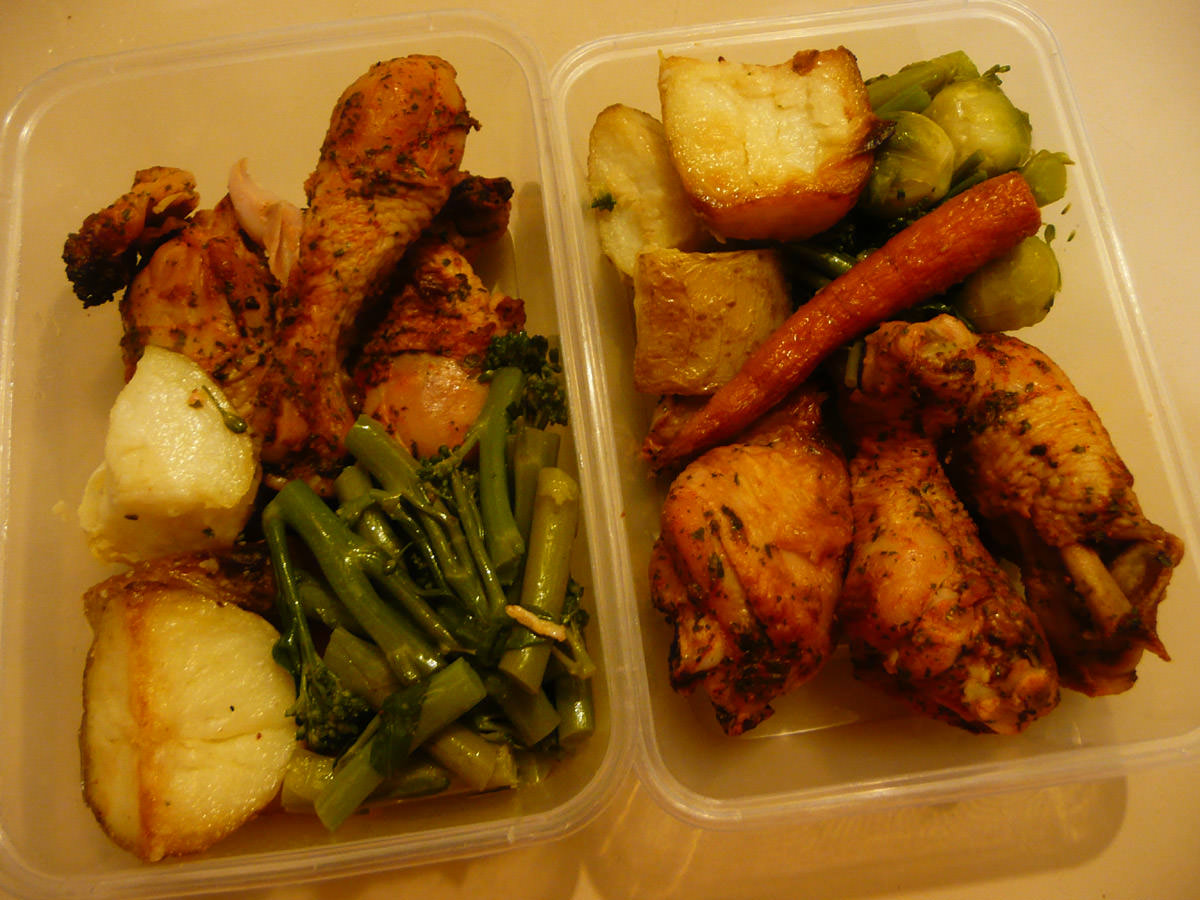 Bento - chicken and vegetables leftovers