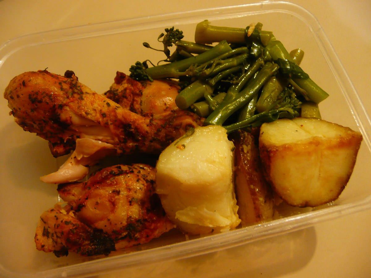 My bento lunch - chicken and vegetables leftovers