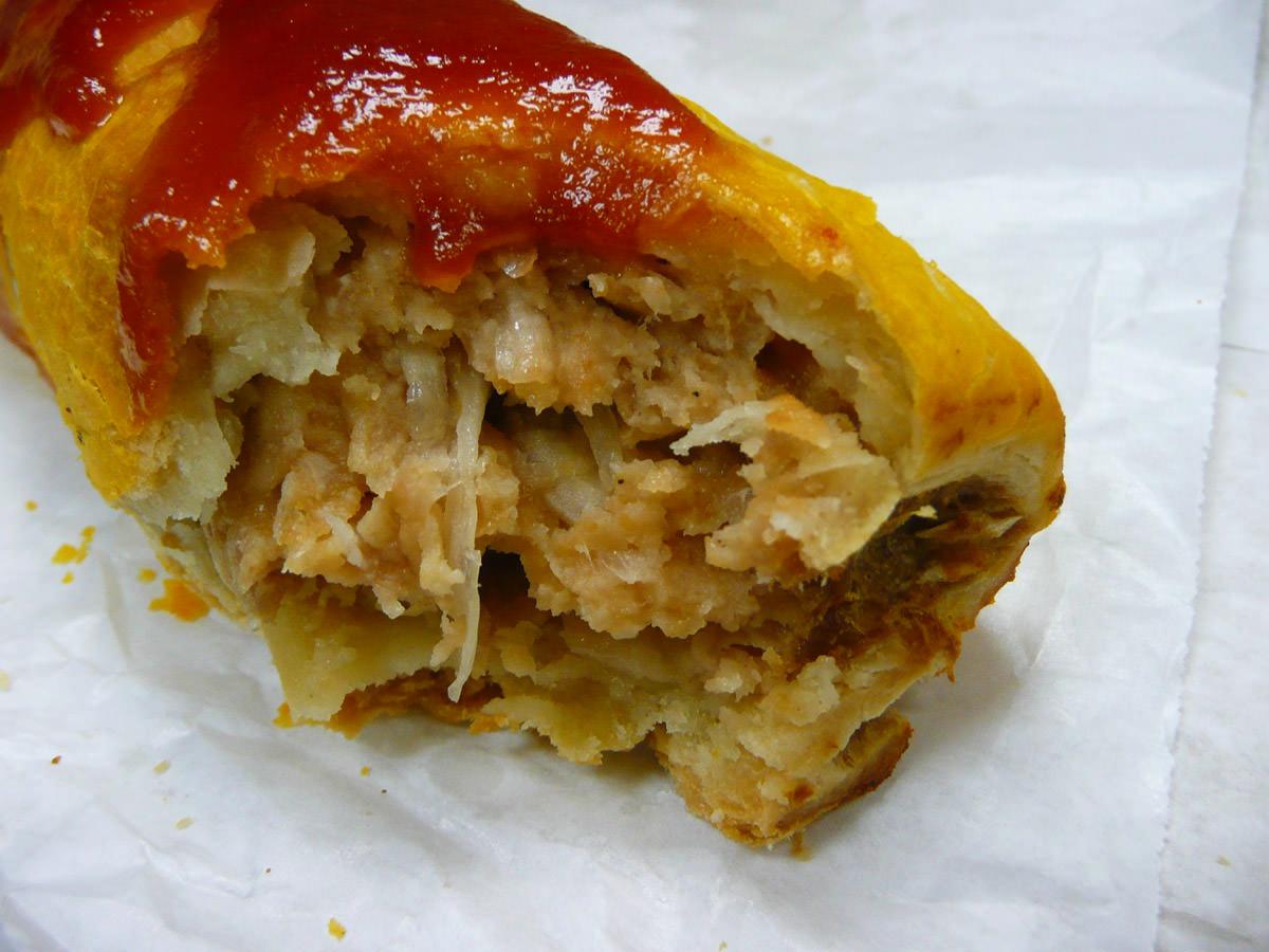 Sausage roll and tomato sauce innards