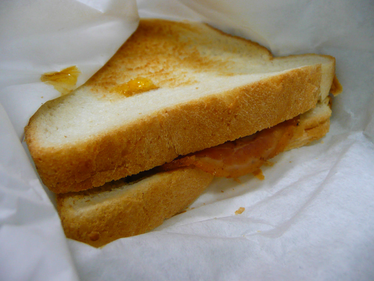 Bacon and egg sandwich with BBQ sauce