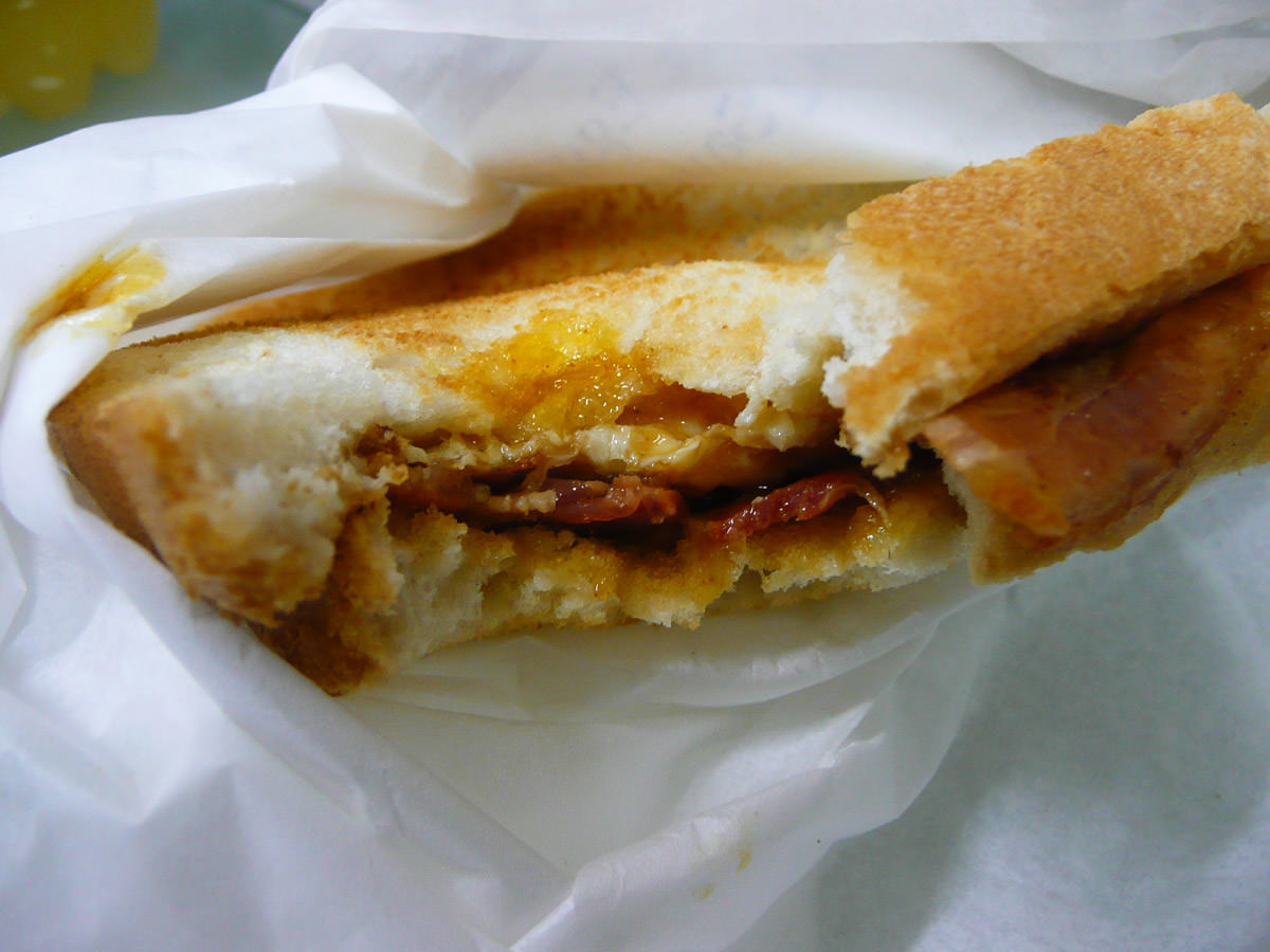 Bacon and egg sandwich with BBQ sauce innards