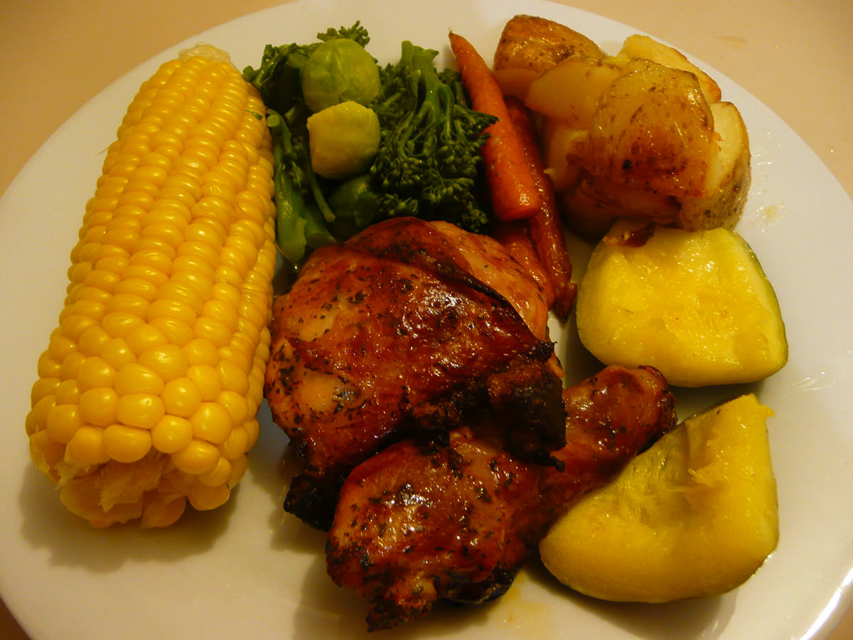 Marinated chicken, oven-roasted vegetables