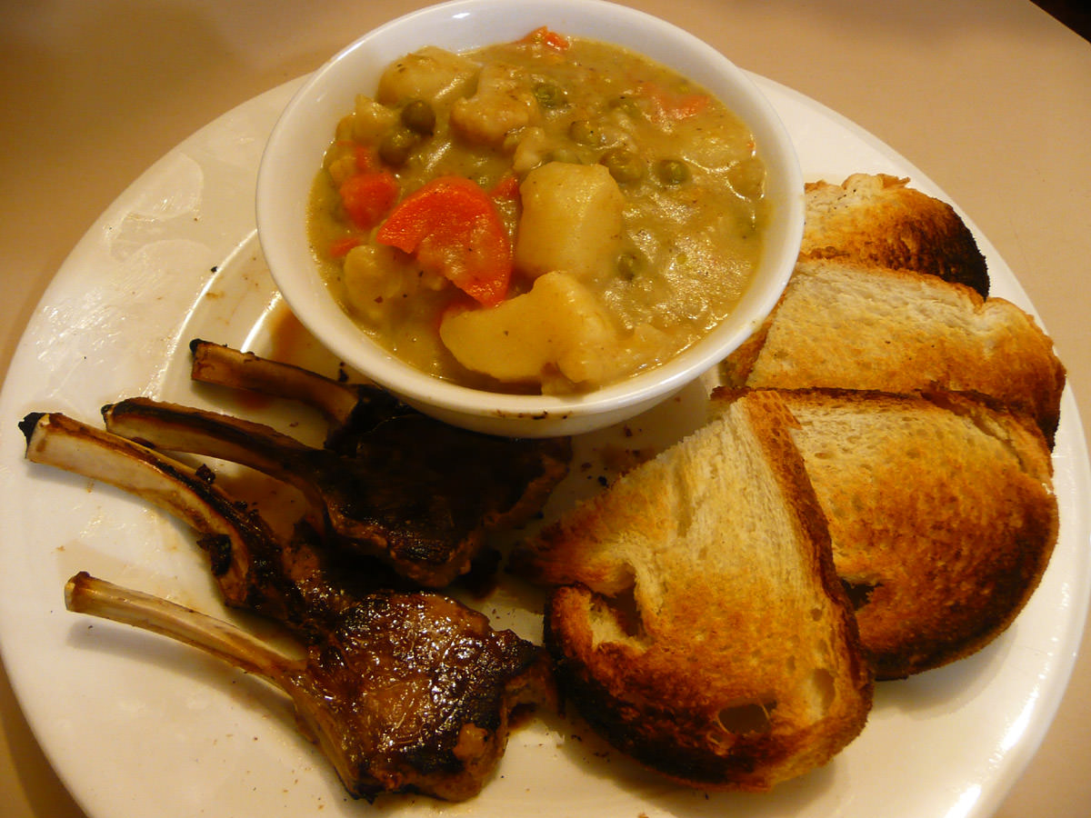 Dinner - Lamb cutlets, toast and vegetable hot pot