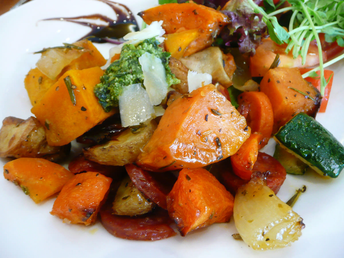 Roasted vegetables with chorizo and salad