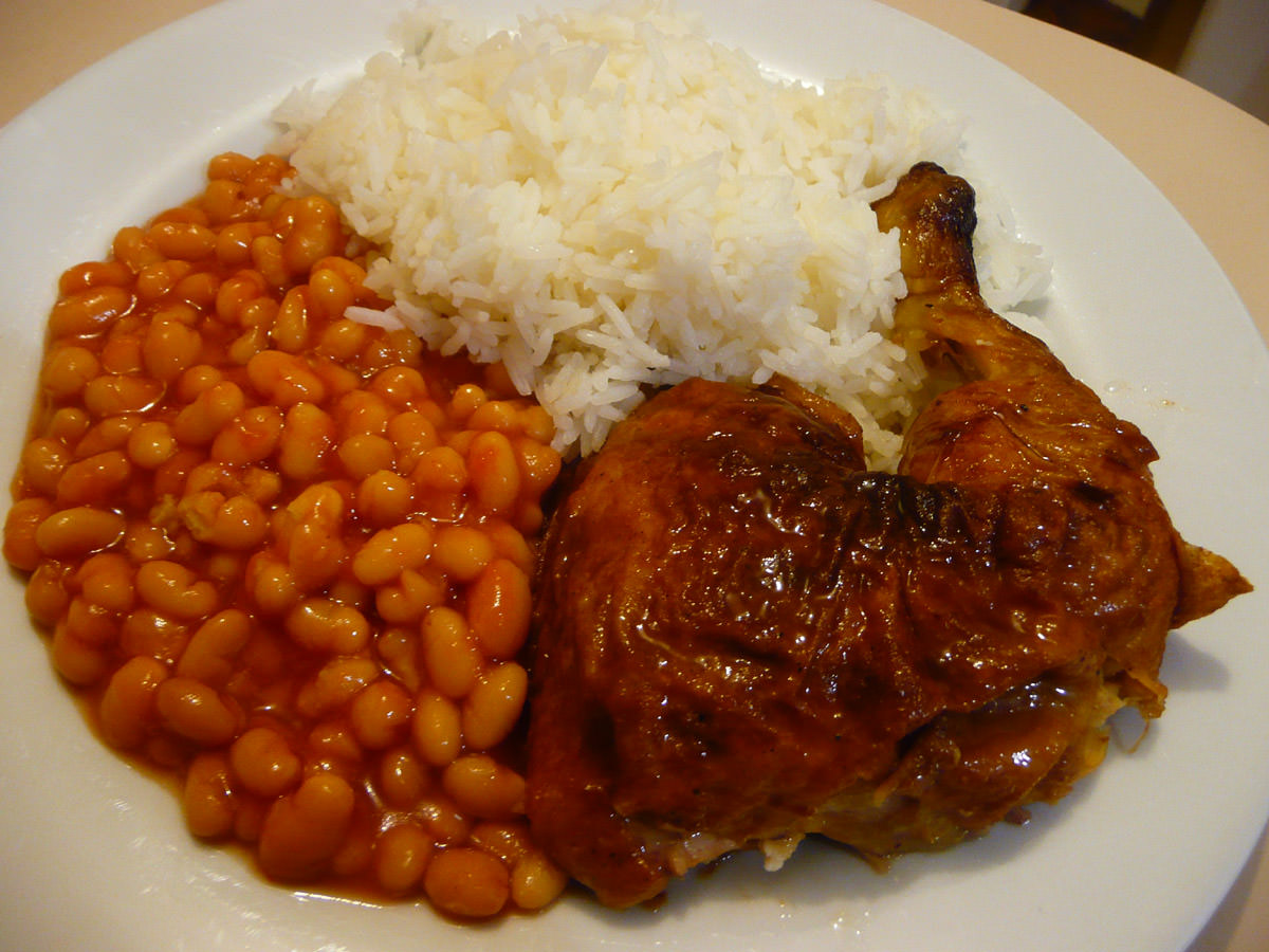 BBQ chicken, baked beans and rice