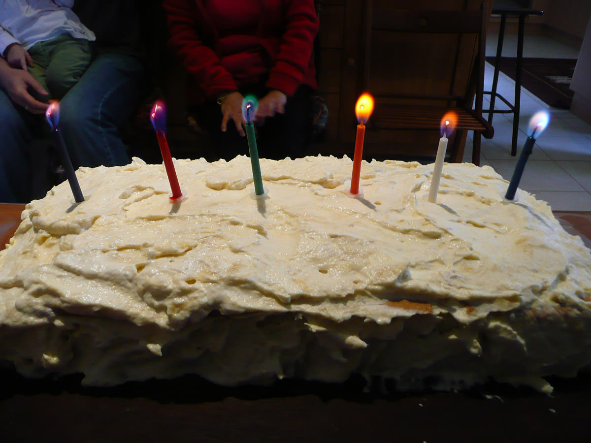 Magic candles on durian cream cake